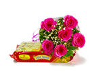 Giftacrossindia Six Pink Roses Bouquet with Soan Papdi Sweet (GAIMPHD0408), 1000 gms