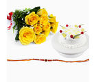 Giftacrossindia Rakhi Express With Pineapple Cake And Yellow Roses Bouquet (GAIR2016042)
