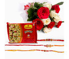 Giftacrossindia Bouquet Of 10 White And Red Roses With Soan Papdi And Set Of 3 Rakhi Express (GAIR2016025)