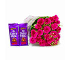Giftacrossindia Bunch of 20 Pink Roses with Cadbury Fruit and Nut Chocolate Bars (GAIMPHD0158), 1000 gms