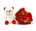 Giftacrossindia Bouquet of Twenty Red Roses with Soft Toy (GAIMPHD0494), 1000 gms