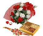 GiftsAcrossIndia Rakhi Express And 500 Gms Dry Fruits With Bunch Of Carnations (GAIR2016216)