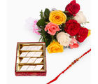 Giftacrossindia 10 Mix Roses With Kaju Katli And Rakhi Express (GAIR2016020)