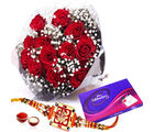Giftacrossindia Cadbury Celebration Chocolates Pack And Red Roses With Rakhi Express (GAIR2016227)