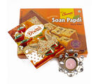 Giftacrossindia Soan Papdi with Diwali Card and Diya Hamper