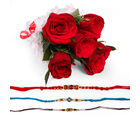 Giftacrossindia Set Of Three Rakhi Express With Red Roses Bunches (GAIR2016112)