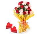 Gifts valley Bunch of Roses N Carnations With 2 Heart Shape Candles on Valentine