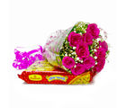 Giftacrossindia Bouquet of Ten Pink Roses with Soan Papdi Sweets (GAIMPHD0417), 1000 gms