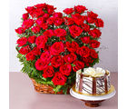 Giftacrossindia Arrangement of 50 Red Roses with Half Kg Chocolate Cake (GAIMPHD0591), 1000 gms