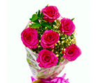 Giftacrossindia Fresh Six Pink Roses Bunch (GAIMPHD0087), 1000 gms