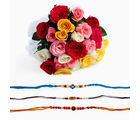 Giftacrossindia Bouquet Of Mix Roses With Three Rakhi Express (GAIR2016135)