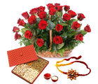 Giftacrossindia Basket Of Red Roses With Dry Fruits And Rakhi Express (GAIR2016218)