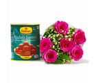 Giftacrossindia Six Pink Roses Bouquet with Tempting Gulab Jamuns (GAIMPHD0407), 1000 gms