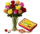 Giftacrossindia Roses Arrangement With Sweets And Rakhi Express (GAIR2016255)
