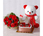 Giftacrossindia Ten Red Roses with Teddy Bear and Heart Shape Chocolate Cake (GAIMPHD0327), 1000 gms