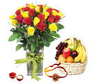 Giftacrossindia Roses Arrangement With Fruits And Rakhi Express (GAIR2016289)