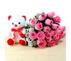 Giftacrossindia Exclusive Bunch of Pink Roses with Small Teddy Bear (GAIMPHD0555), 1000 gms