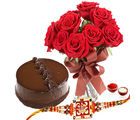 Giftacrossindia Chocolate Cake And Red Roses Vase With Rakhi Express (GAIR2016207)