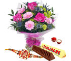 Giftacrossindia Bouquet Of Pink Flowers With Toblerone Chocolate And Rakhi Express (GAIR2016235)