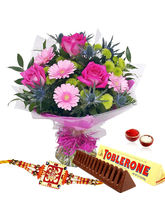 Giftacrossindia Bouquet Of Pink Flowers With Toble...
