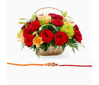 Giftacrossindia Rakhi Express With Mix Flowers Basket (GAIR2016052)