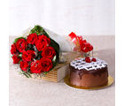 Giftacrossindia Delicious Chocolate Cake with Ten Red Roses Bunch (GAIMPHD0325), 1000 gms