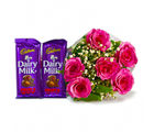 Giftacrossindia 6 Pink Roses of Bouquet with Two Bars of Cadbury Fruit and Nut Chocolate (GAIMPHD0124), 1000 gms