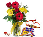 Giftacrossindia Rakhi Express With Mix Flowers And Mix Cadbury Chocolates (GAIR2016228)