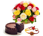 Giftacrossindia Mix Roses With Rakhi Express And Chocolate Cake (GAIR2016199)