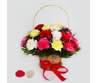 Giftacrossindia Mix Carnations in a Basket Arrangement for Bhai Dooj (GAIBD2016125)