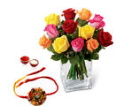 Giftacrossindia Mix Roses And Rakhi Express (GAIR2016167)