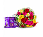 Giftacrossindia Bunch of Tewnty Colourful Roses with Bars of Cadbury Dairy Milk Chocolates (GAIMPHD0153), 1000 gms