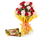 Gifts valley Bunch of Roses N Carnations With 2 Cadbury 5-Star Chocolates on Valentine