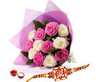 Giftacrossindia White And Pink Roses With Rakhi Express (GAIR2016174)