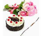 Giftacrossindia Black Forest Cake With Pink Roses And Rakhi Express (GAIR2016035)