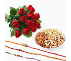 GiftsAcrossIndia Bouquet Of Red Roses With Mix Dryfruits And Three Rakhi Express (GAIR2016034)