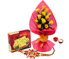 Giftacrossindia Soan Papdi With Yellow Roses And Rakhi Express (GAIR2016243)