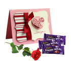 Gifts valley Love Greetings with Chocolates and Rose