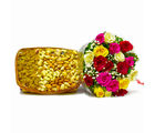 Giftacrossindia Twenty Colorful Roses with Mix Dry Fruit in a Basket (GAIMPHD0365), 1000 gms
