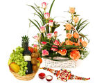 Giftacrossindia Designer Roses Arrangement With Fruits Wine And Rakhi Express (GAIR2016272)