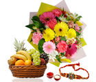 Giftacrossindia Rakhi Express With Fruits Basket And Flowers Bouquet (GAIR2016290)