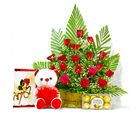 Giftacrossindia Red Roses Arrangement with Chocolates, Greeting Card and Sof Toy (GAIMPHD0470), 1000 gms