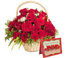 Gifts valley Red Roses Basket With Valentine's Greeting Card