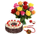Giftacrossindia Rakhi Express With Black Forest Cake And Roses Bouquet (GAIR2016195)