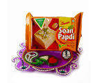 Giftacrossindia Acrylic Thali and Silver Coin with Soan papdi for Bhaidooj For Diwali