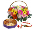 Giftacrossindia Rakhi Express And Floral Basket With Dry Fruit Box (GAIR2016222)
