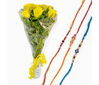 Giftacrossindia Bouquet Of Yellow Roses With Set Of Three Rakhi Express (GAIR2016114)