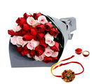 Giftacrossindia Red And Pink Roses With Desginer Rakhi Express (GAIR2016166)