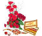 Giftacrossindia Thread Rakhi Express With Red Flowers Basket And Sweets (GAIR2016261)