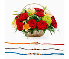 Giftacrossindia Set Of Three Rakhi Express With Mix Flowers Basket (GAIR2016053)